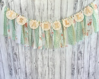 Extra Long Pink and Mint Garland With Name // Shabby Chic Banner With Name // Vintage Banner With Name // Fabric Garland // Banner
