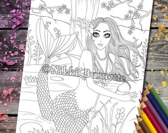 Coloring Page - Digital Stamp - Printable - Fantasy Art - Mermaid - Koi Pond - Stamp - Adult Coloring Page - FELICITY - by Nikki Burnette