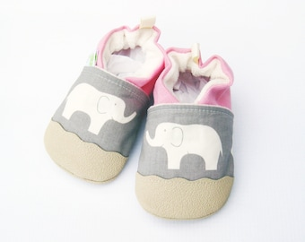 Organic Vegan Gray Elephant with Pink / non-slip soft sole baby shoes / Made to Order / Babies Toddler Preschool