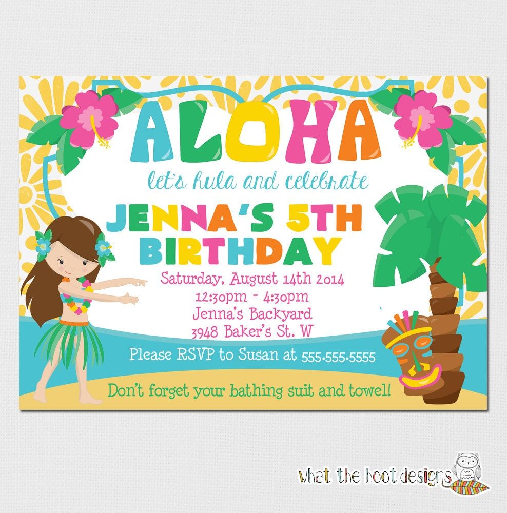 Luau Invitation Birthday Party Pool