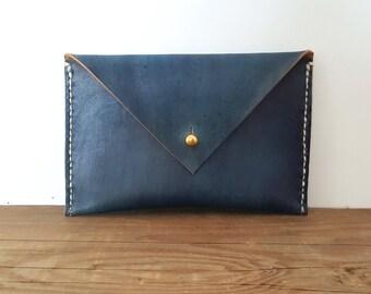 Leather Envelope Wallet in Indigo