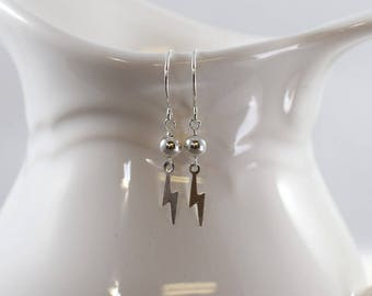 Sterling Silver Lightening Bolt Earrings, Sterling Silver Earrings, Lightening Earrings, Silver Earrings, Artisan Earrings, Handmade,  E061