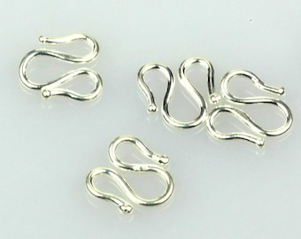 925 Sterling Silver Necklace Hook, Necklace Clasp 10x9.5mm, Pkg of 1 pc, F0GI.SI06.P01