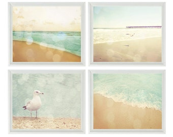 Beach Art Photography, Seagull Art, Beach House Decor, Nature Photography, Bokeh Photo, Aqua, Tan, Dreamy, Beach Print, Bathroom Art, Gift
