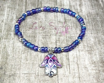 Pearls bracelet blue with chakra hand