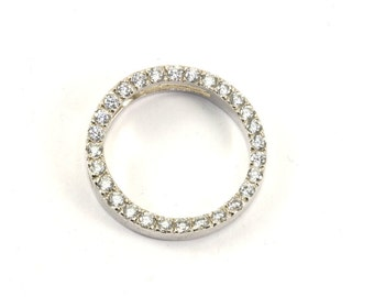 Vintage Sparkling Round Shape CZ Inlay Pendant 925 Sterling Silver PD 766