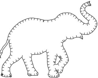 Elephant Embroidery Design File - E stitch- multiple formats - one color design -4 sizes - instant download - quick stitch