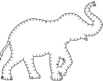 Elefanten-Stickerei-Design-Datei - E Stich-mehrere Formate - eine Farbe Design -4 Größen - instant-Download - schnell Stich