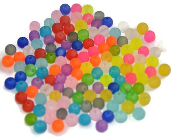 130 frosted glass beads mix color 8mm