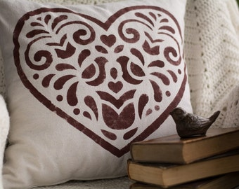 Decorative Heart - pillow cover (18x18)
