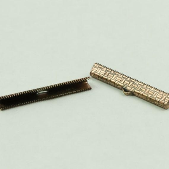 Clasp, Ribbon Crimp Clasp Copper Color 1 set, 2 pieces 1 1/2  inch 38mm