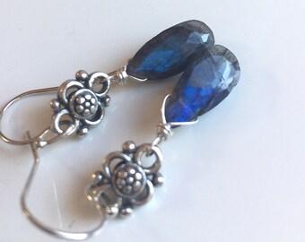 Folly Earrings in Black Labradorite with Blue Flash, dangle gemstone earrings, gift idea