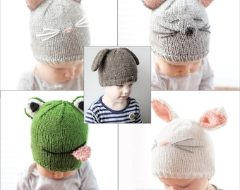 SAVE 20% Animal Hat 5 Knitting Pattern BUNDLE/Animal Hats/Animal Hats with Ears/Newborn Animal Hats/Knit Animal Hat/Animal Beanie Hat