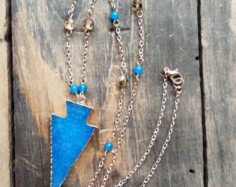 Blue Agate Arrowhead Pendant Necklace, Long Arrowhead Rose Gold Necklace, Layering Necklace, Bohemian Necklace, Long Rose Gold Necklace