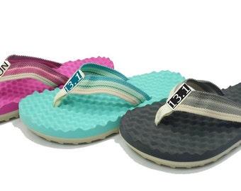 Sandals - 13.1 Runner's recovery sandals, half marathon footwear, running sandals, barefoot sandals, massaging sandals