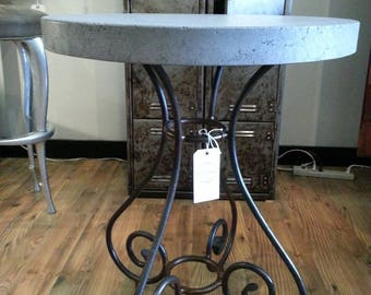 French country iron end table with concrete top