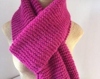 Wool scarf, handmade, raspberry