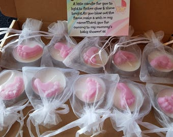 10 Pink Baby Shower Favour Gifts,scented Candle,Handmade Tiny Wax Melt Foot,
