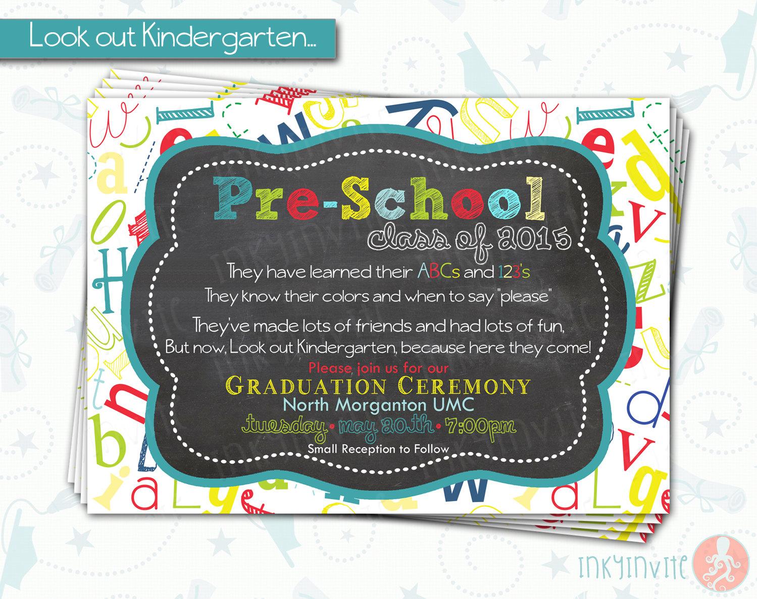 PreSchool Graduation Invitation Pre K Class Graduation