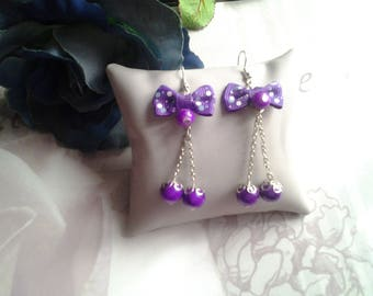 Dangling bow and Pearl Earrings