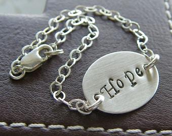Personalized Oval Bracelet - Custom Sterling Silver Hand Stamped Bracelet - Petite Oval Bracelet with Optional Birthstone or Pearl