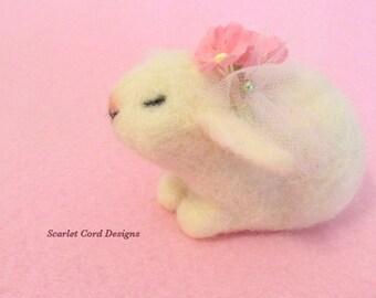 Needle Felted Bunny, White Baby Bunny, Sleeping Rabbit, Easter Bunny, Spring Bunny,