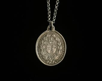 antique french sacred heart of jesus and marie necklace