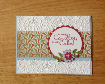 Stampin Up Happy Birthday card - cake with candles word