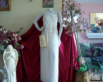 """Champagne Crepe Jumpsuit by """"Patra"""", Bridal Jumpsuit, Champagne Flowing Jumpsuit, Elegant Jumpsuit, Sz 12"""