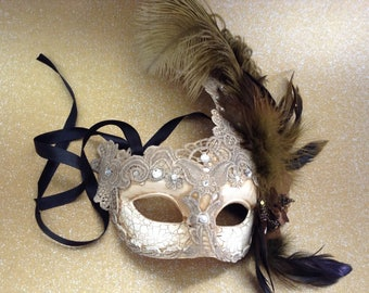 Brocade Lace Light Beige Ivory masquerade ball mask ostrich feather