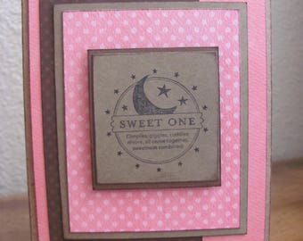 Pink and Brown Dot Sweet One Greeting Card