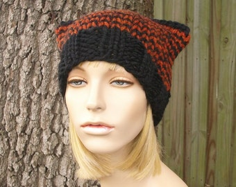 Knit Hat Black Womens Hat - Cat Beanie Hat in Black and Rust Knit Hat - Black Hat Black Beanie Black Cat Hat Womens Accessories Winter Hat