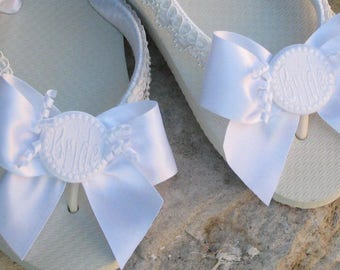 PERSONALIZED FLIP FLOPS, Satin Ribbon and Bows, Pearl Trim, For the Bride, Beach - Outdoor- Destination Weddings! Comfy Flats or Wedge