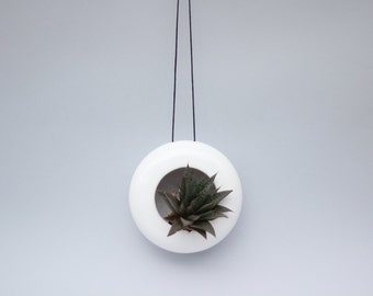 Modern designed hanging ceramic planter/ flower pot/ succulent planter/ handmade pot/ glossy white/ faux leather string