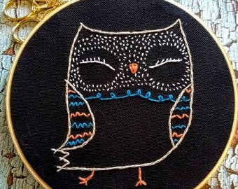 Colorful Owl Embroidery Hoop Art