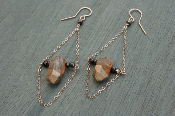 Quartz, Spinel and Rose Gold Earrings // Bridesmaid // Gifts for Her // Stocking Stuffer