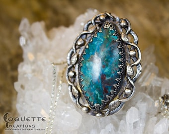 Original Handmade One-of-a-kind Turquoise/Blue Chrysocolla Fine Silver Pendant Necklace