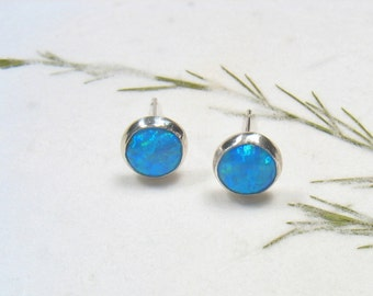 Sterling silver ,6mm cabochon blue  Opal stone stud earrings,casual earrings, silver post earrings.