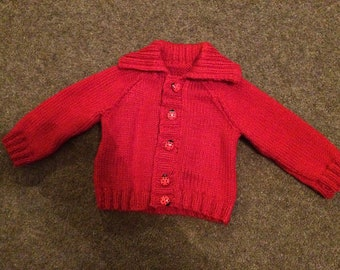 Hand knitted Red collared baby cardigan