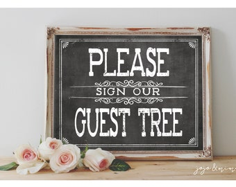 Instant 'Please sign our Guest Tree' Printable Event Sign Wedding Party Printable Chalkboard Guestbook Alternative Size Options