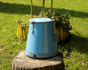 Cooking, Storage, Kitchenalia, vintage small petrol blue enamel food container with lid, enamelware, cottage chic, French enamelware
