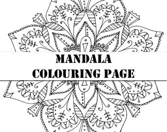 Floral Mandala Digital Printable Colouring Page