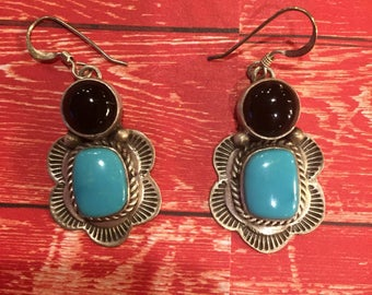 Southwestern Onyx and Turquoise Sterling Silver dangle drop earrings