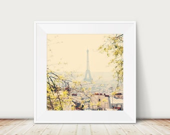 Paris photography, Paris decor, Eiffel Tower print, Paris in the spring, yellow decor, large wall art, Paris travel photography
