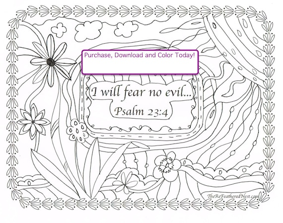 psalm 234 downloadable scripture coloring page i will fear no evil from therefeatherednest on etsy studio - Psalm 23 Coloring Page