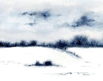 "Winter scenery ""in the snow""  original watercolorpainting"