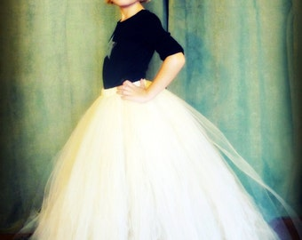 The Katherine - Custom long classic style tutu with Train - SEWN and Full Tulle Skirt - your choice of colors and length - flower girls