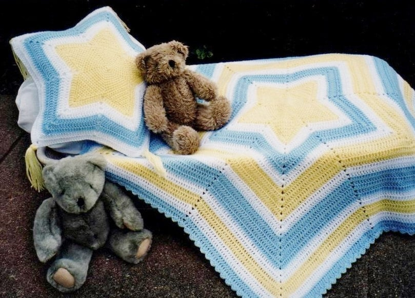 Pdf Pattern Crochet Baby Star Afghan Matching Pillow Easy Star