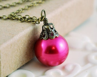 Fuchsia Christmas Jewelry, Antiqued Brass, Hot Pink Holiday Necklace, Glass Pearl Ball, Wire Wrapped Ornament