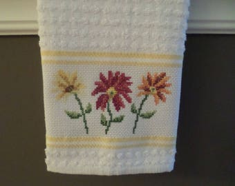 Gerber Daisies Cross Stitch KitchenTowel - Tea Towel - Hostess Gift